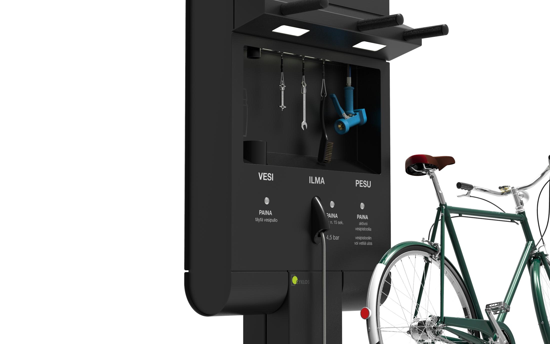 Cyklos GRAND pyöränhuoltopiste polkupyörille sekä palvelupiste kävelijöille josta saa ilmaa, vettä ja pesutoimintoa