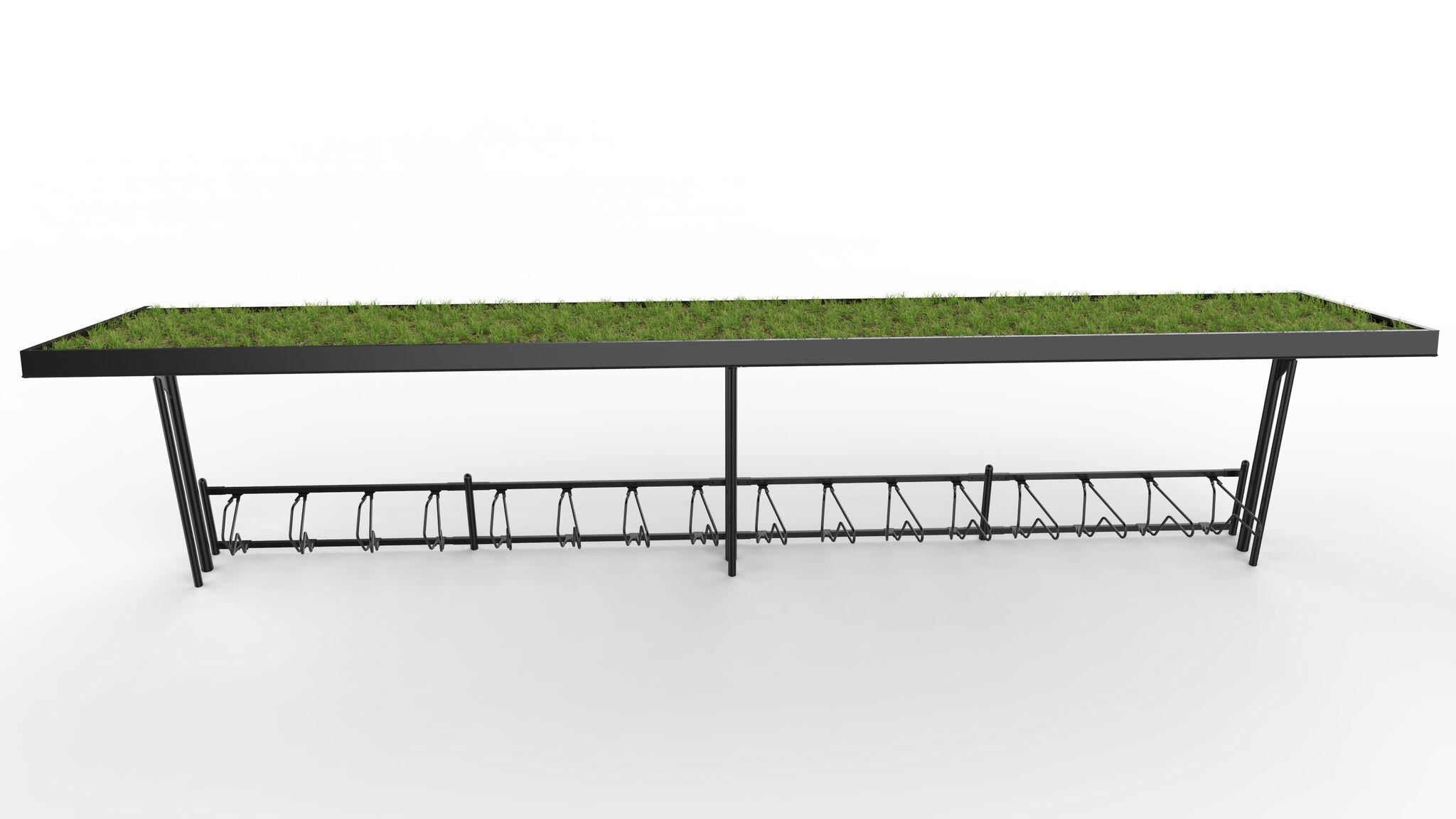 Cyklos KAPPA 8,5 metrin pyöräkatos viherkatoksella ilman päätytolppaa ja Delta runkolukitusteline, kuva edestä josta näkee viherkatoksen