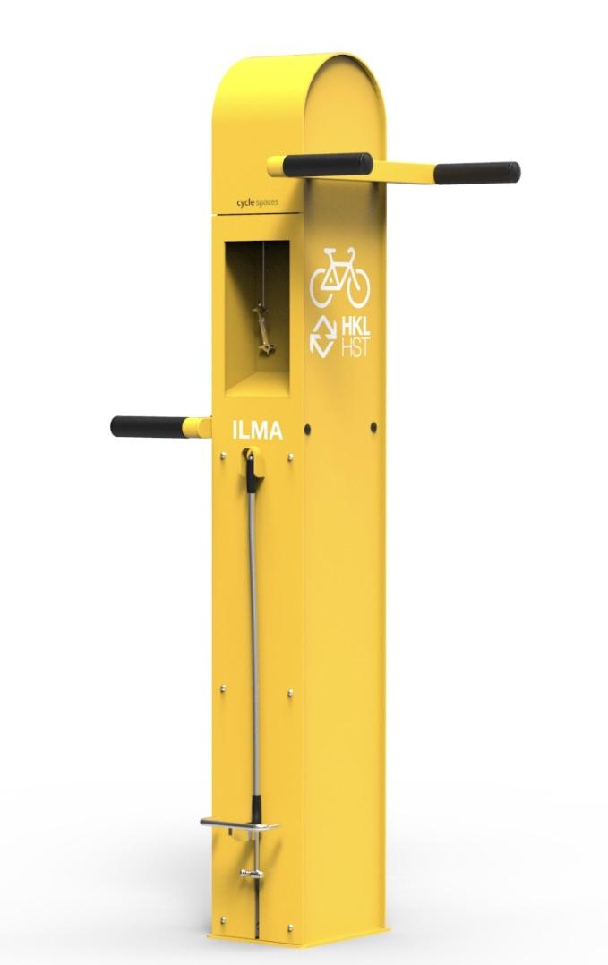 Keltainen Care4bikes pyöränhuoltopiste, kannatipukki pyörille. HKL keltainen väritys jossa monikäyttö-työkalut ja manuaalinen pumppu