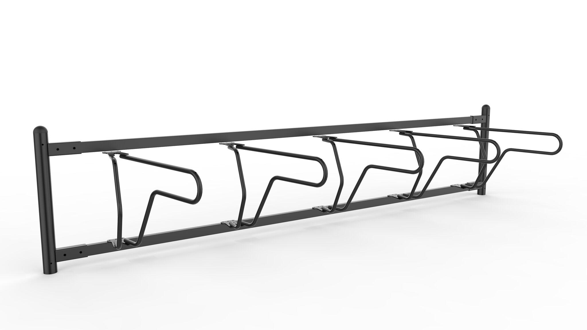 Delta runkolukitusteline yksipuolinen, pyöräteline sivulta valkoisella pohjalla ja viisi pyöränapaikkaa