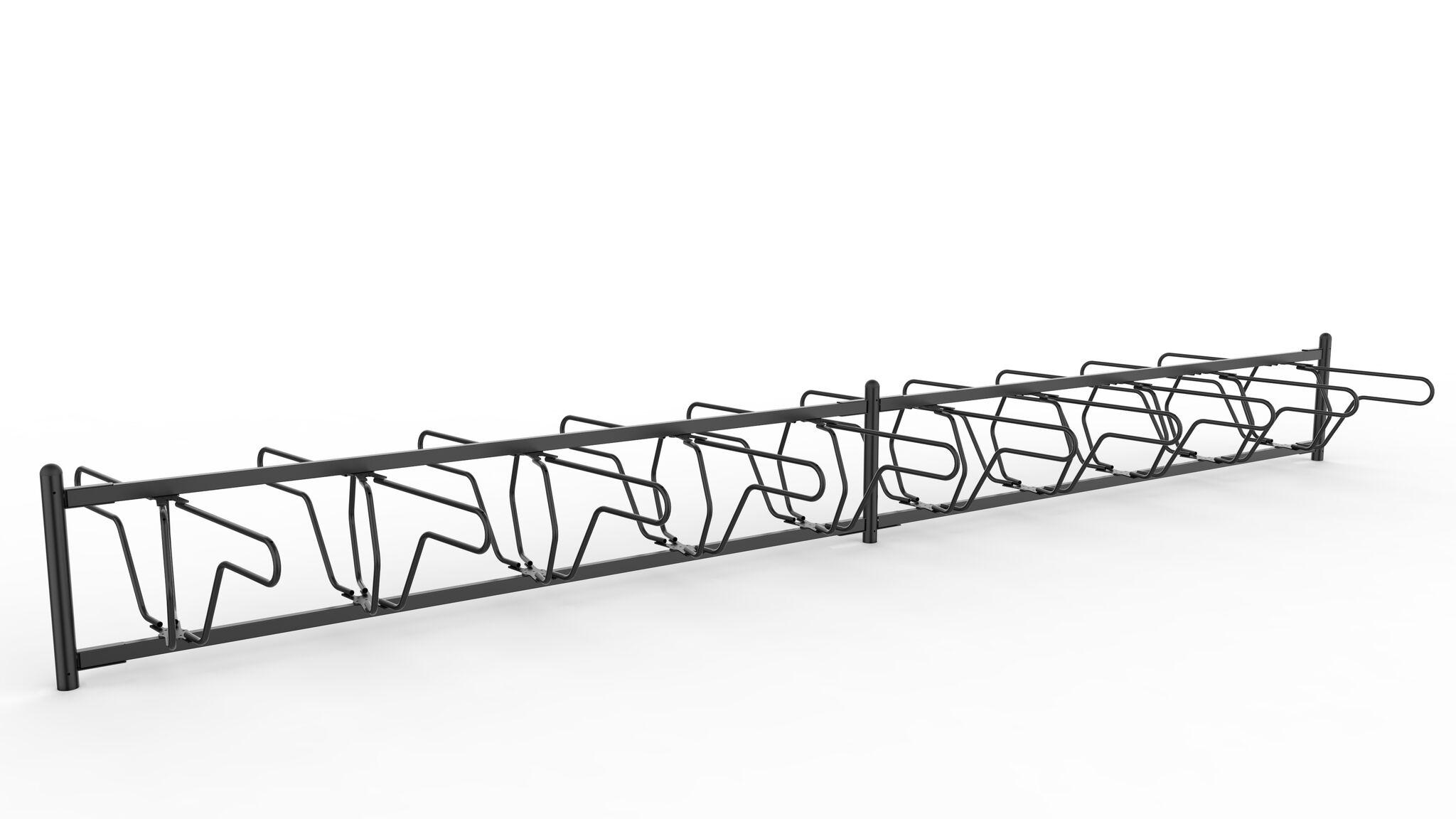 Delta runkolukitusteline kaksipuolinen, pyöräteline sivulta valkoisella pohjalla, malli on vastaavanlainen kuin kalusteohjeessa