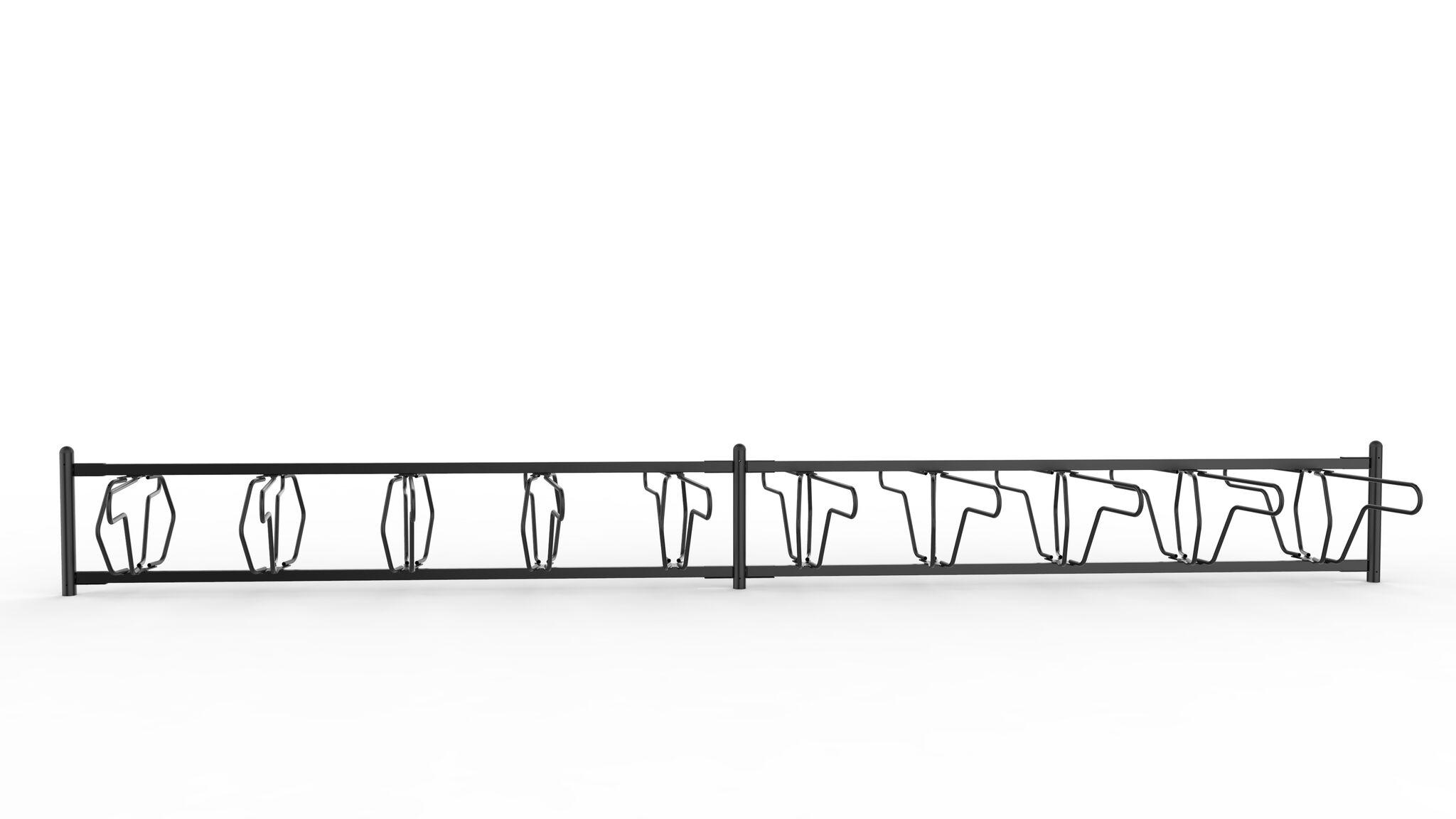 Delta runkolukitusteline yksipuolinen, pyöräteline edestä valkoisella pohjalla, malli on vastaavanlainen kuin kalusteohjeessa