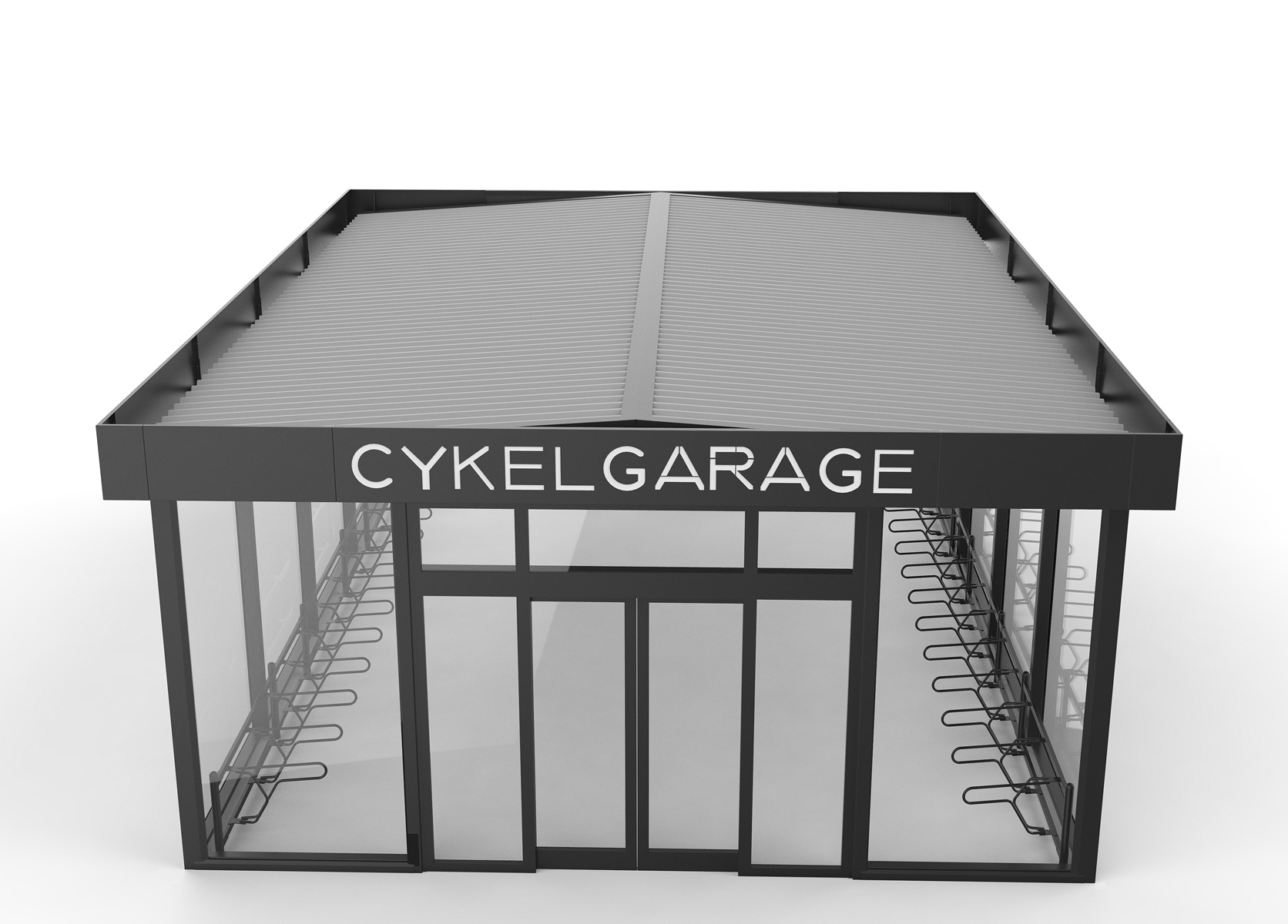 Cyklos pyörätalli, lukittu pyöränsäilytystila automaattisella liukuovella