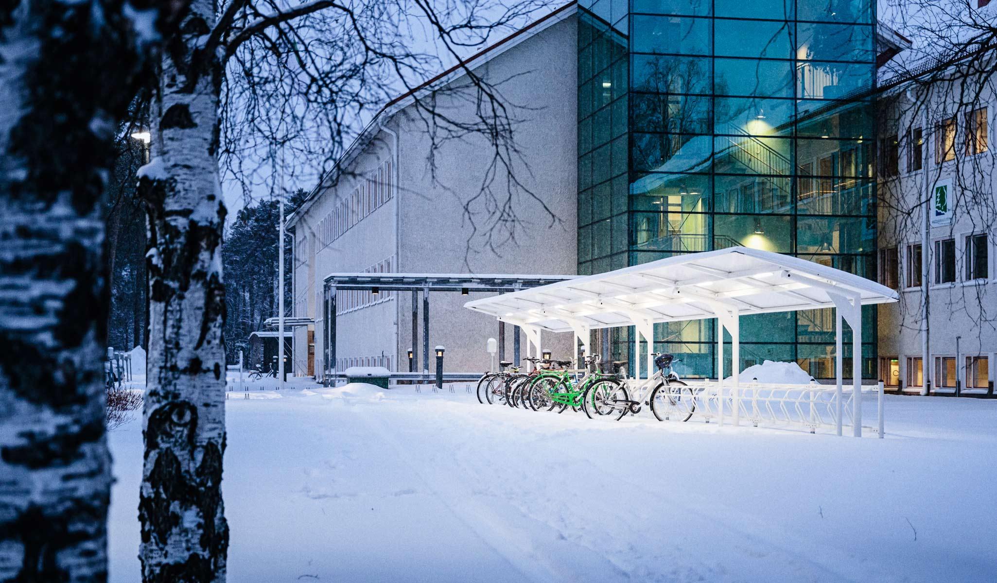 Pyöräkatos talviympäristössä
