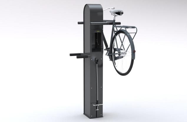 CARE4BIKES servicestasjon med både sykkelpumpe og multiverktøy