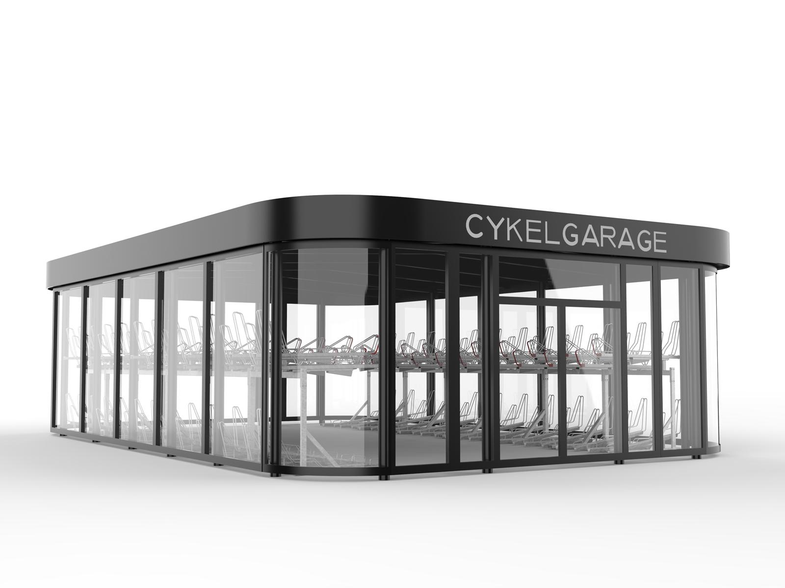Sykkelhus FLOW med runde hjørner og vegger helt i glass