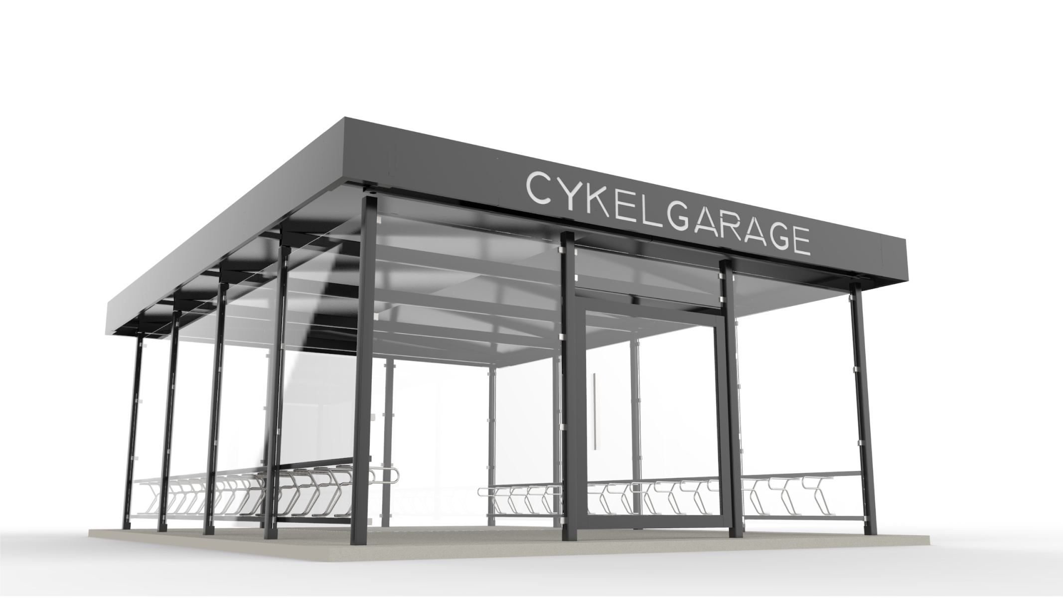 Sykkelhus LINK for offentlige miljø med sykkelstativ DELTA