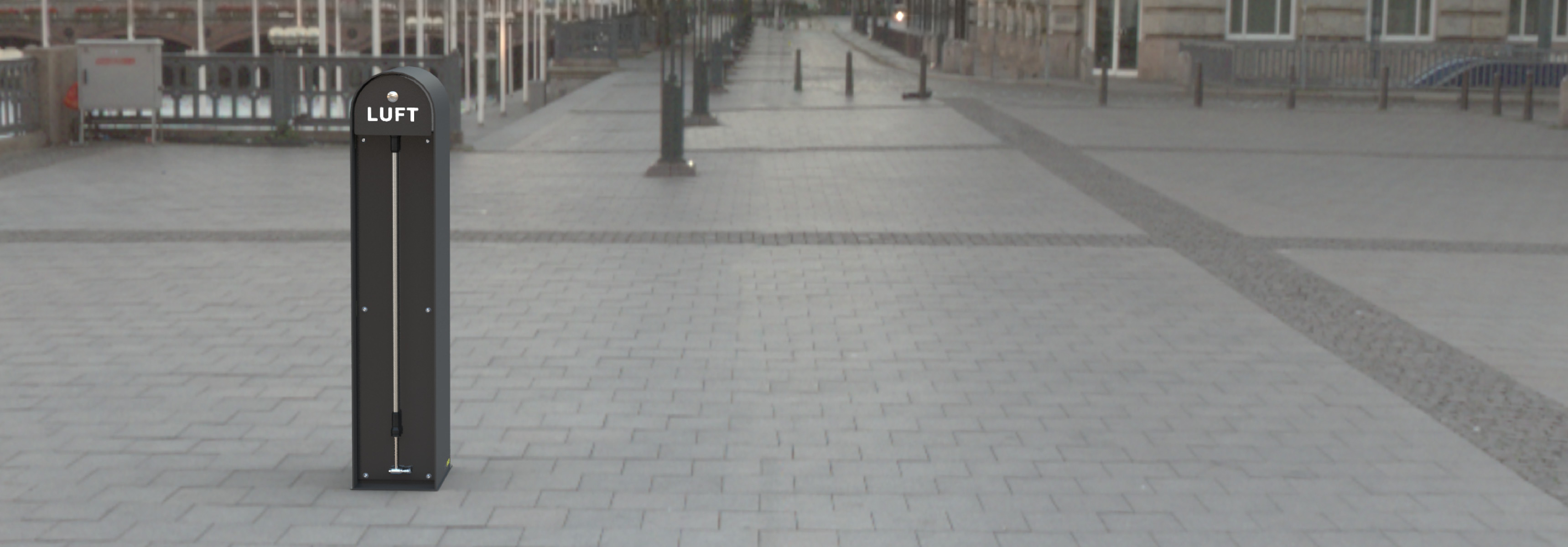 Cyklos WAVE air automatisk cykelpump för offentlig utemiljö