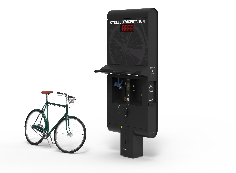 Cyklos GRAND 900 servicestation för cyklar med tvätt, luft, påfyllning av dricksvatten och verktyg.