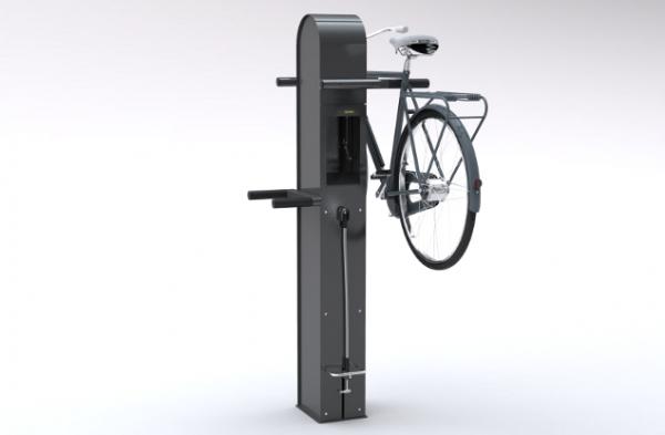 Cyklos CARE 4 BIKES cykelservicestation med en upphängd cykel