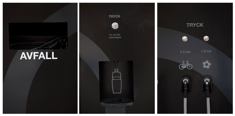 Cyklos GRAND servicestation för cyklar med tvätt, luft, påfyllning av dricksvatten och verktyg.