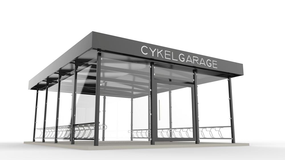 Cyklos LINK Cykelgarage med glasväggar