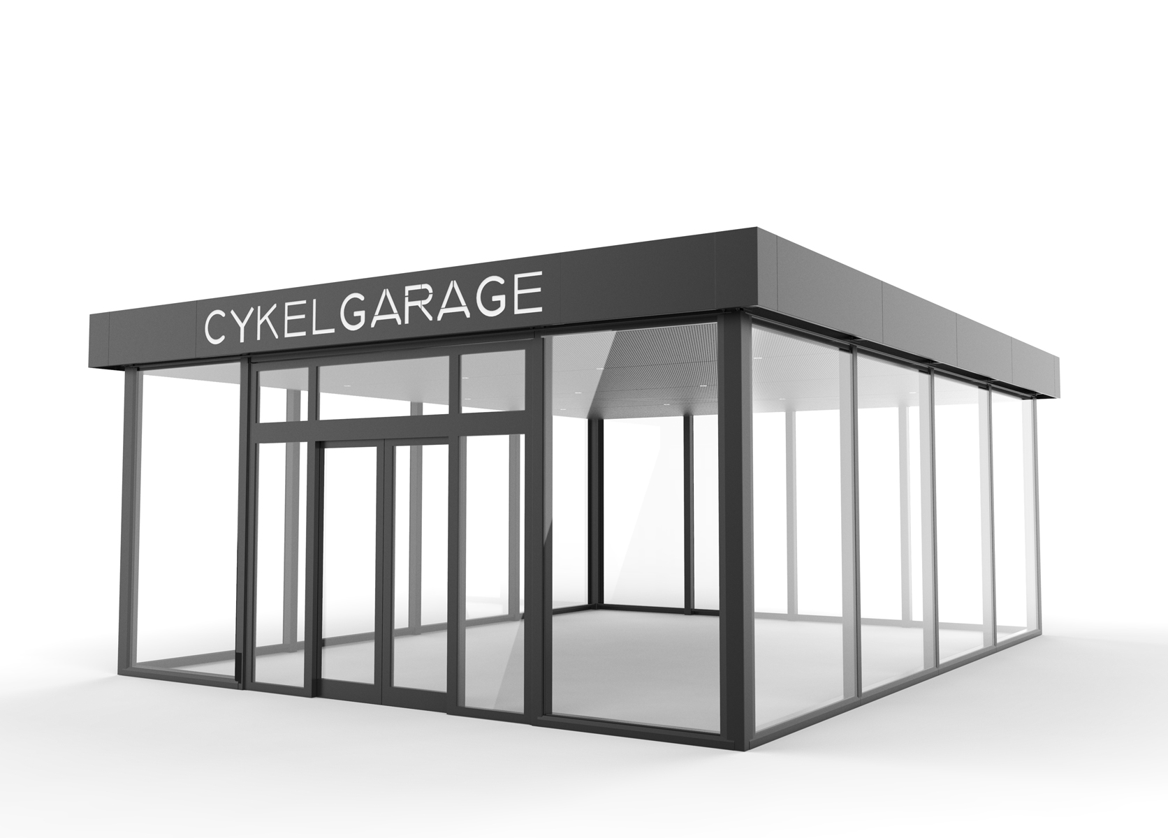 Cykelgarage LINK med automatiska skjutdörrar och glasväggar sett från sidan