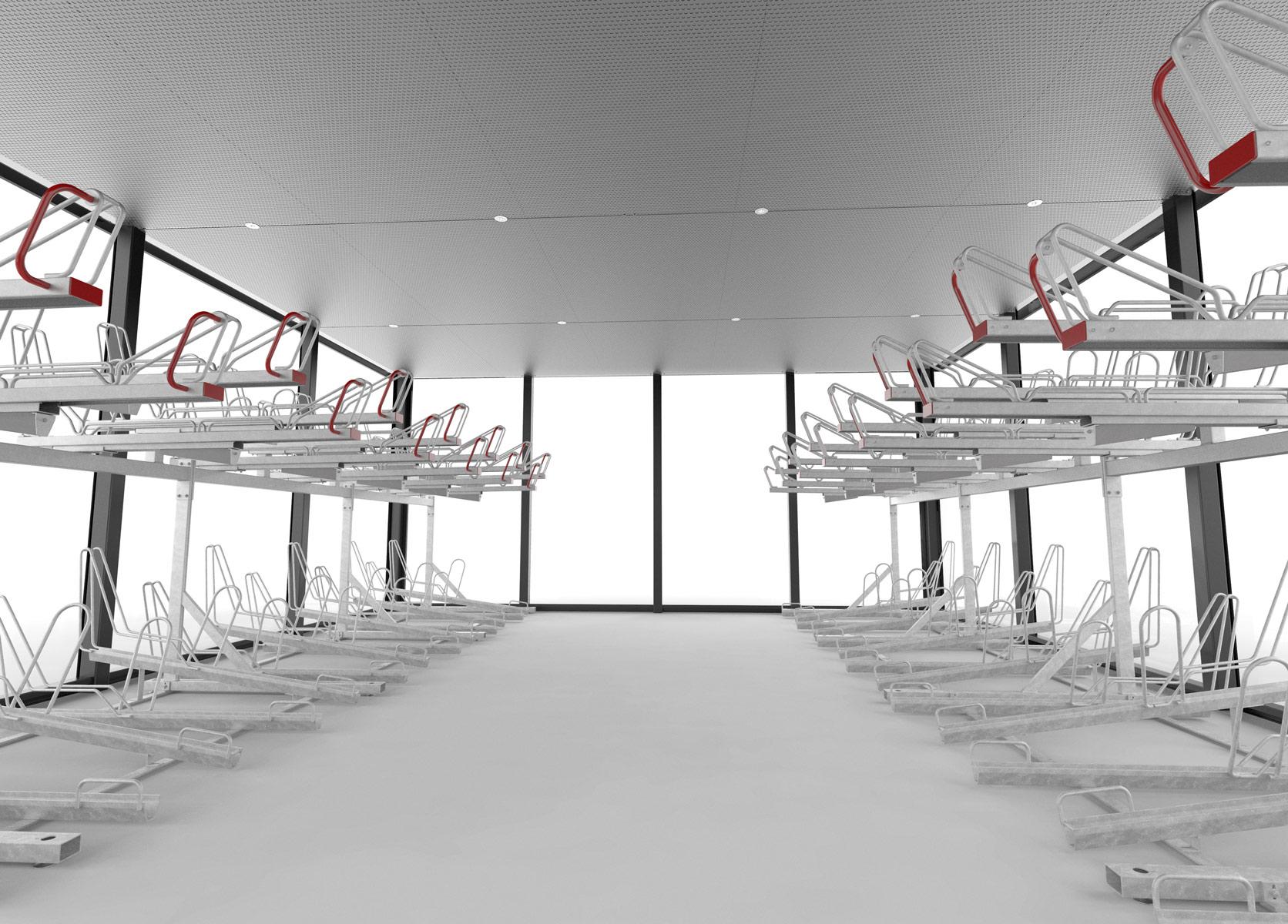 LINK cykelgarage inifrån för offentlig miljö med tvåvåningsställ OPTIMA