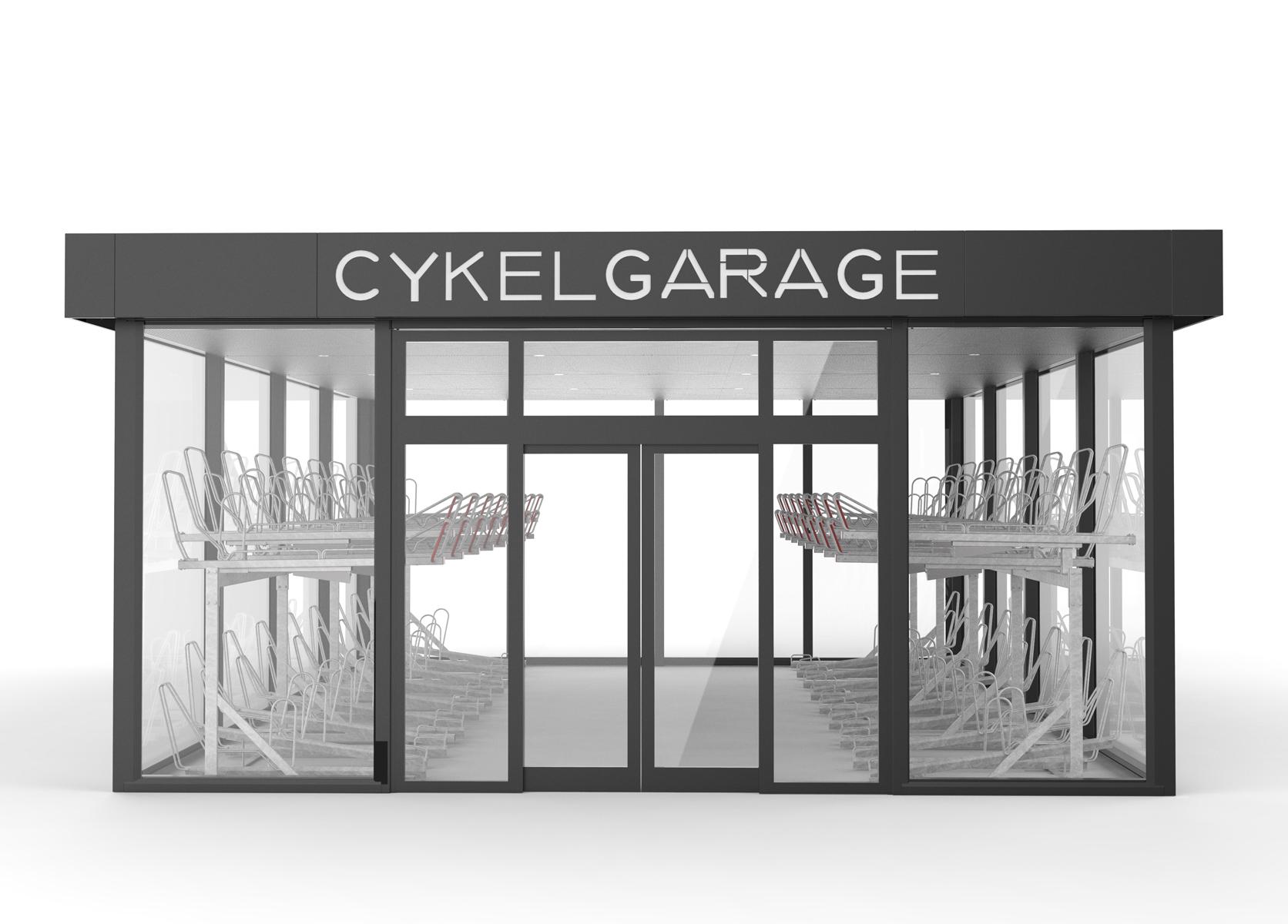 Cykelgarage med tvåvåningsställ för cyklar