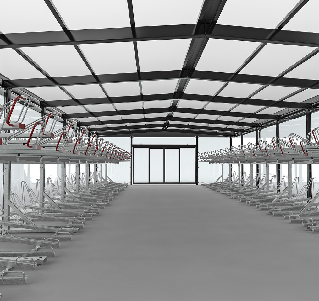Link cykelgarage inifrån tillsammans med tvåvåningsstället OPTIMA