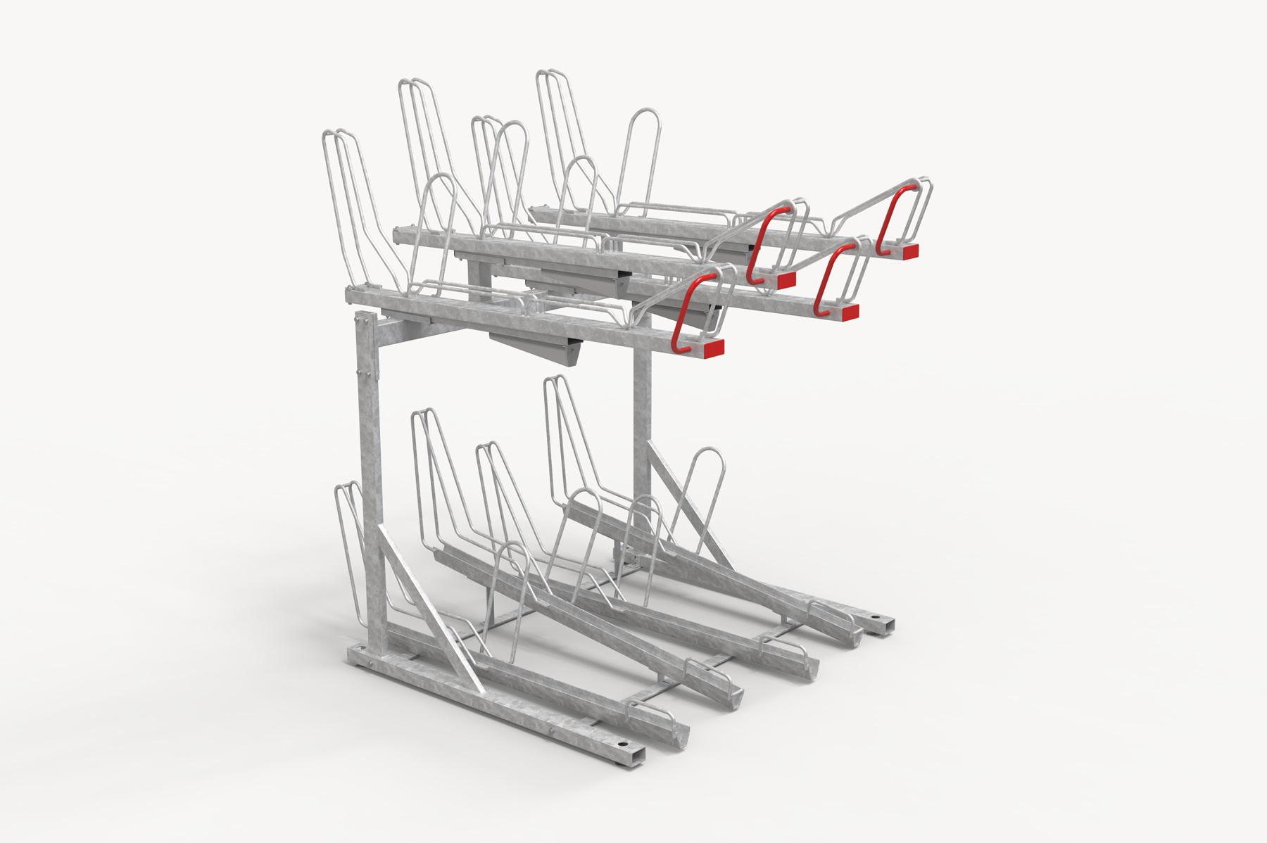 OPTIMA tvåvåningsställ för cyklar med ramlåsning sett snett från sidan.