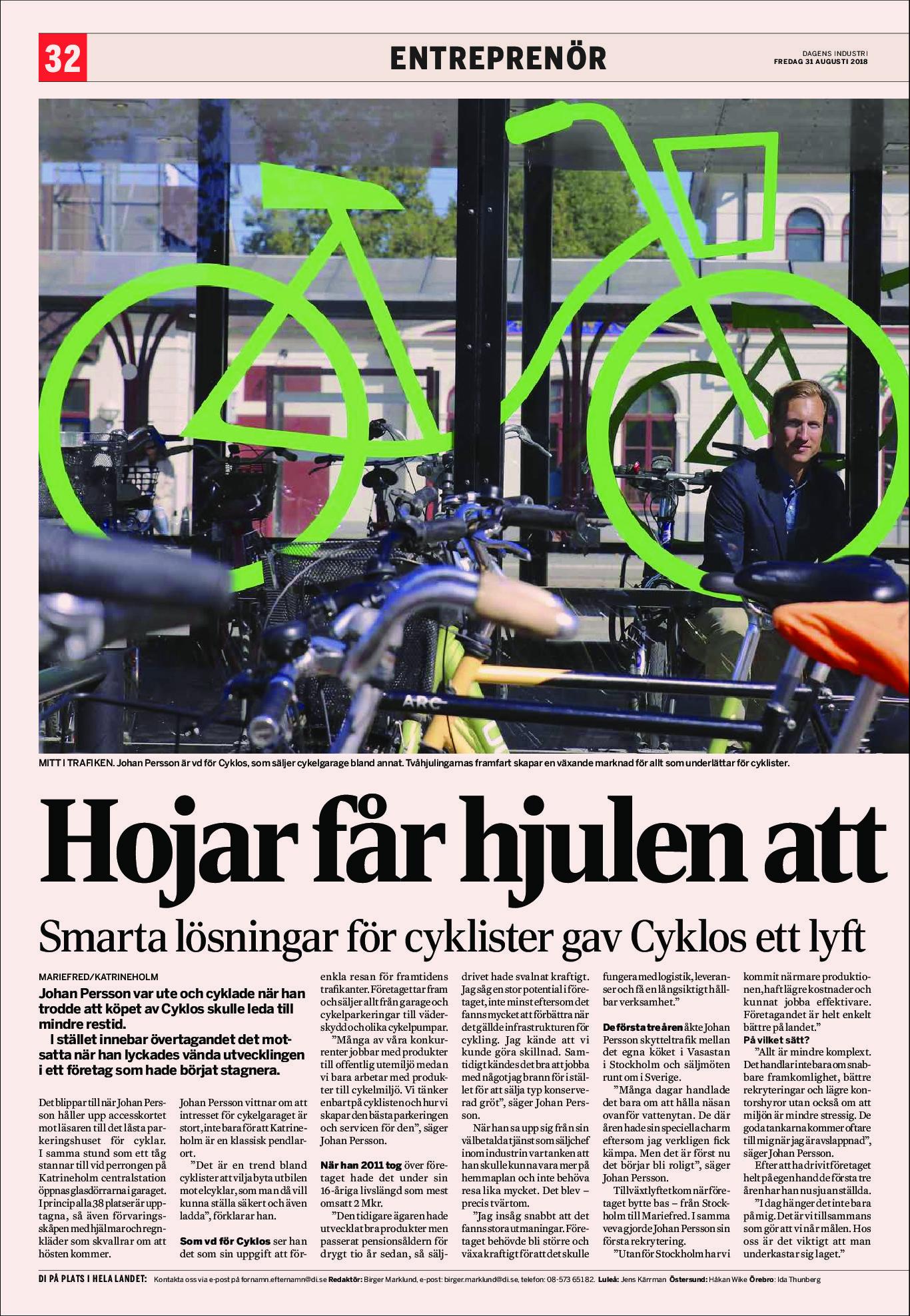 Artikel i Dagens Industri augusti 2018 om Cyklos och entreprenören Johan Persson.