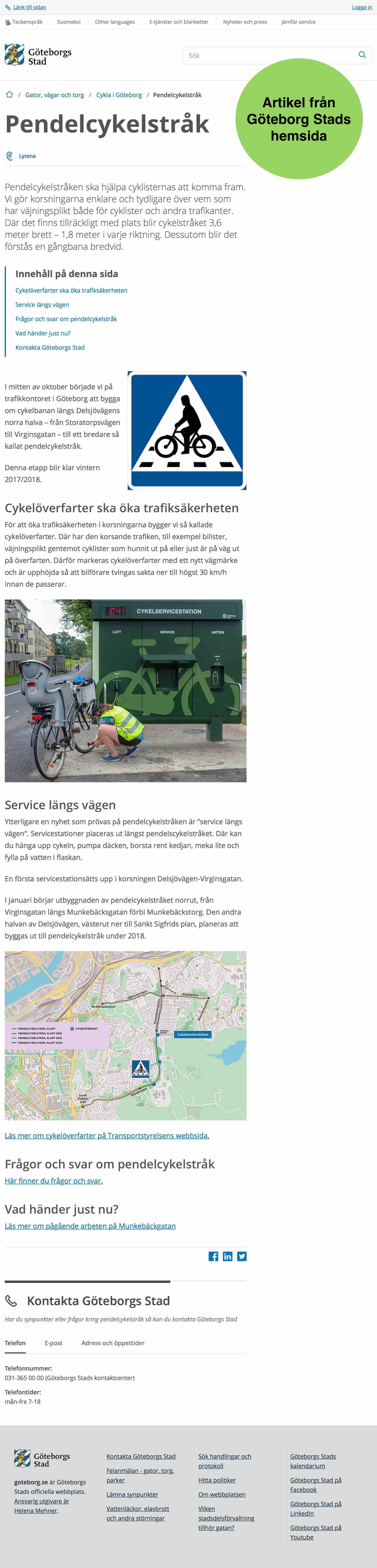 """Artikel om Göteborgs nya servicestation för cyklar som de kallar """"Service längs vägen"""""""