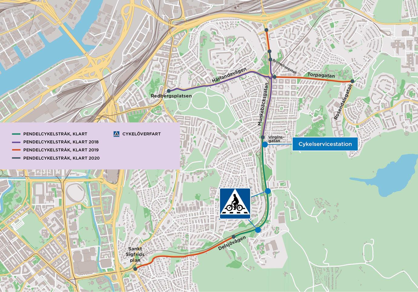 Karta där servicestation GRAND för cyklar är utmärkt