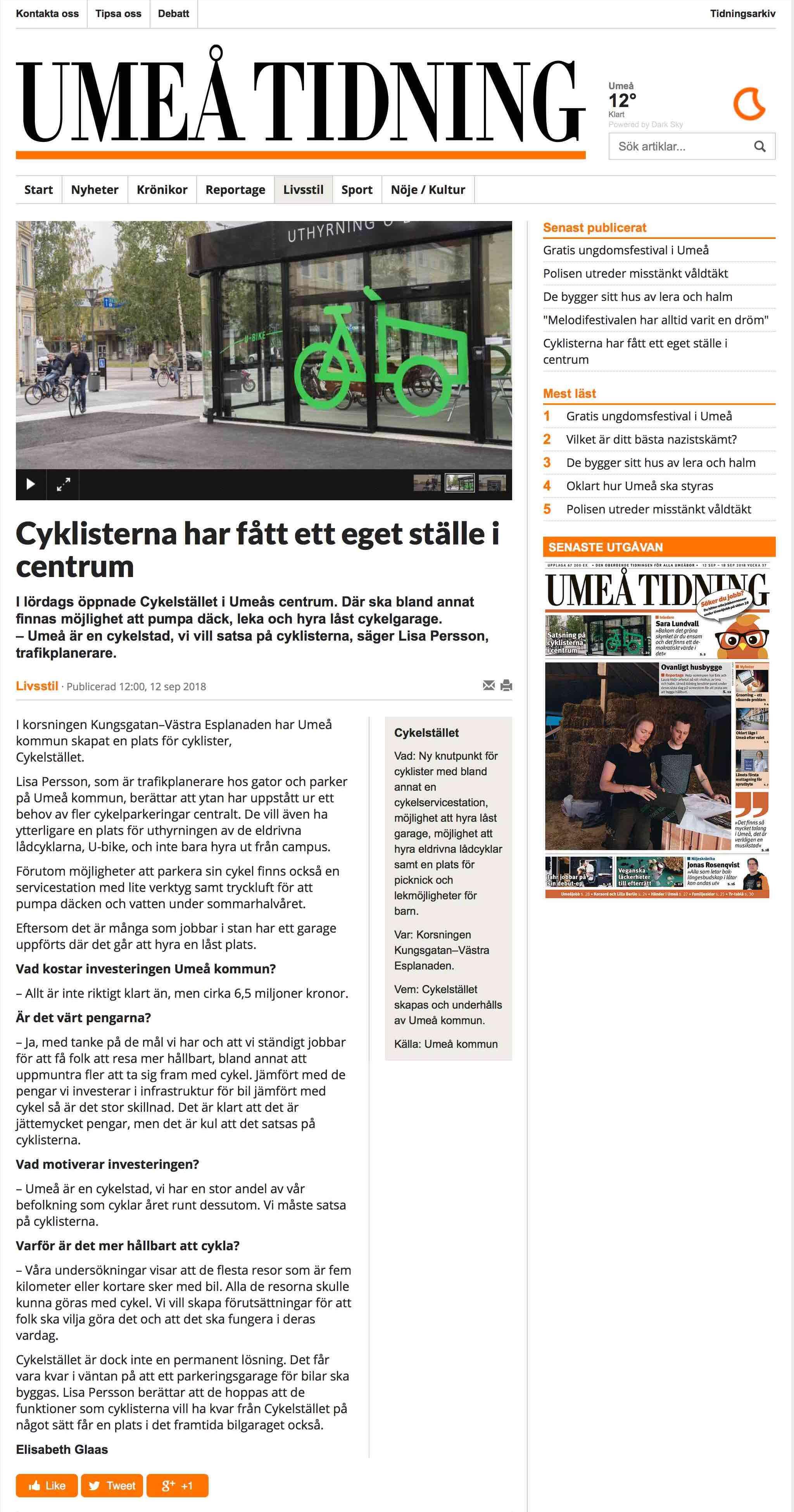 """Artikel från Umeå Tidning om invigningen av """"Cykelstället"""" i Umeå där Cyklos levererat ett uppvärmt cykelgarage, cykelställ och cykeltak"""