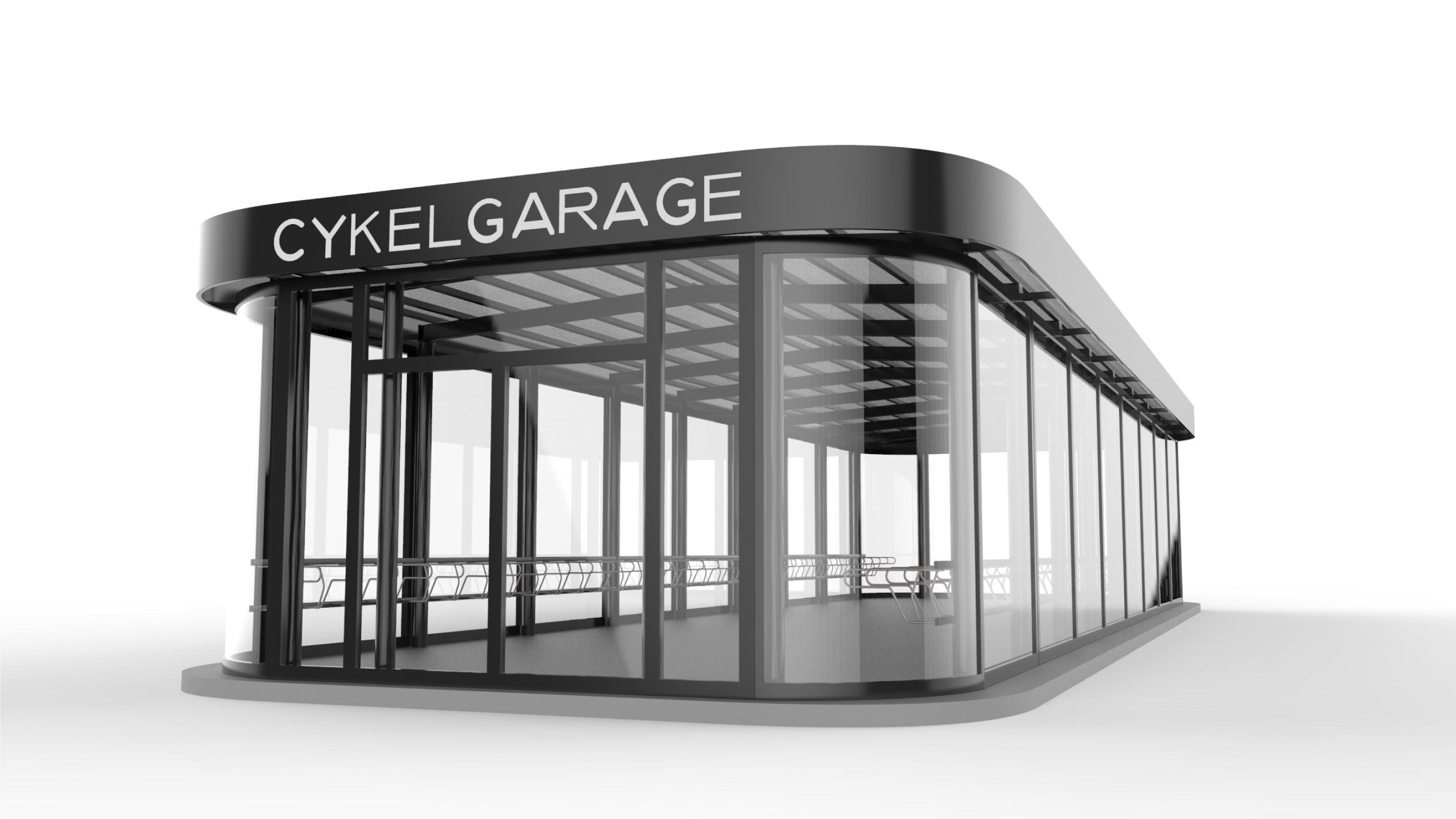 Renderad bild på Cykelgarage FLOW för offentlig miljö med automatiska skjutdörrar och stora glaspartier