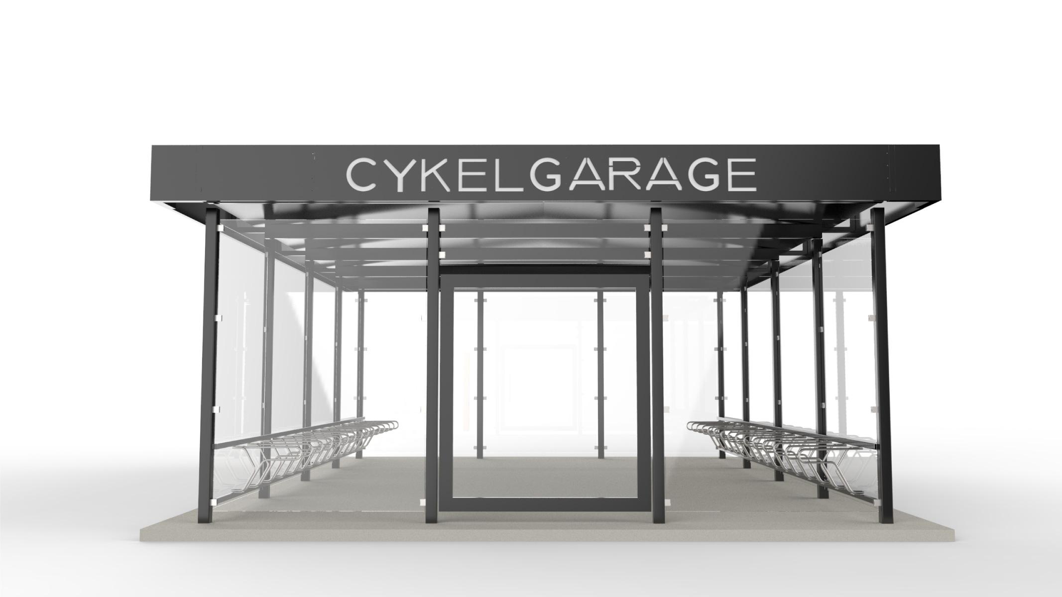 Rendering av LINK cykelgarage för offentlig miljö med texten cykelgarage på takprofilen