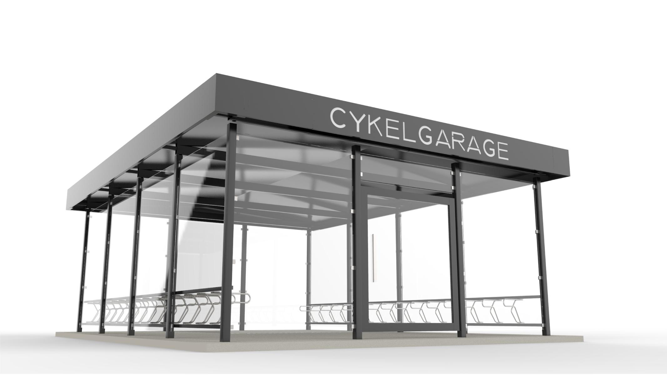 Rendering av cykelgarage LINK för offentlig miljö tillsammans med cykelställ DELTA