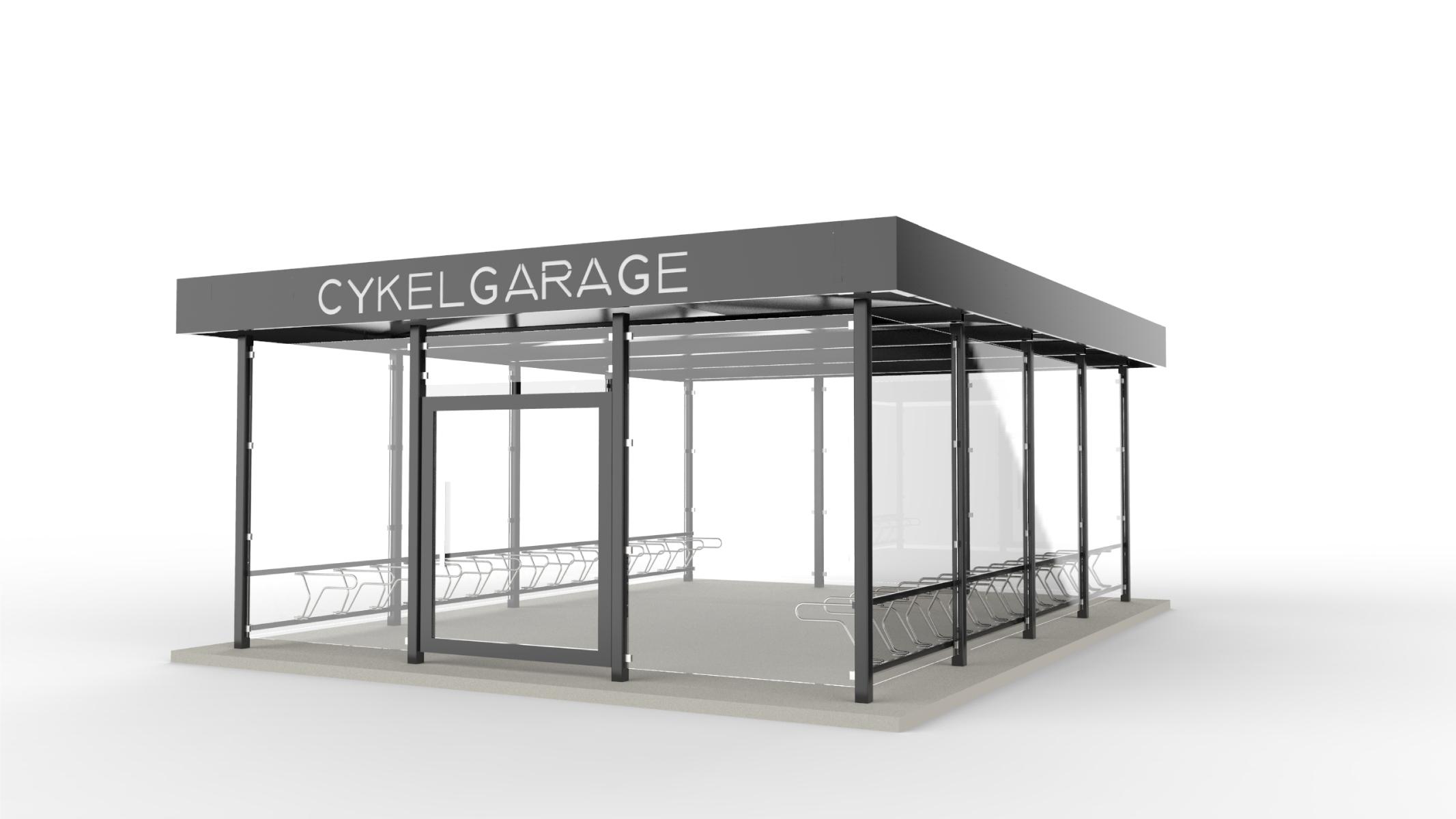 Rendering av cykelgarage LINK för offentlig miljö