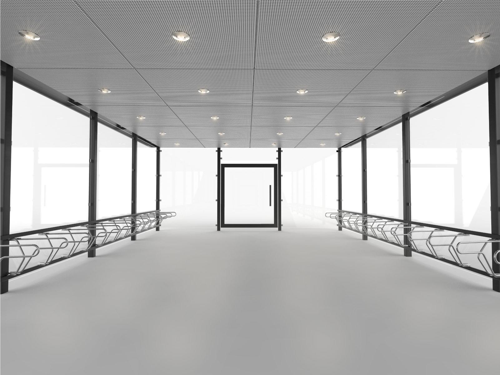 Inifrån-rendering av cykelgarage LINK för offentlig miljö med tänd LED-belysning