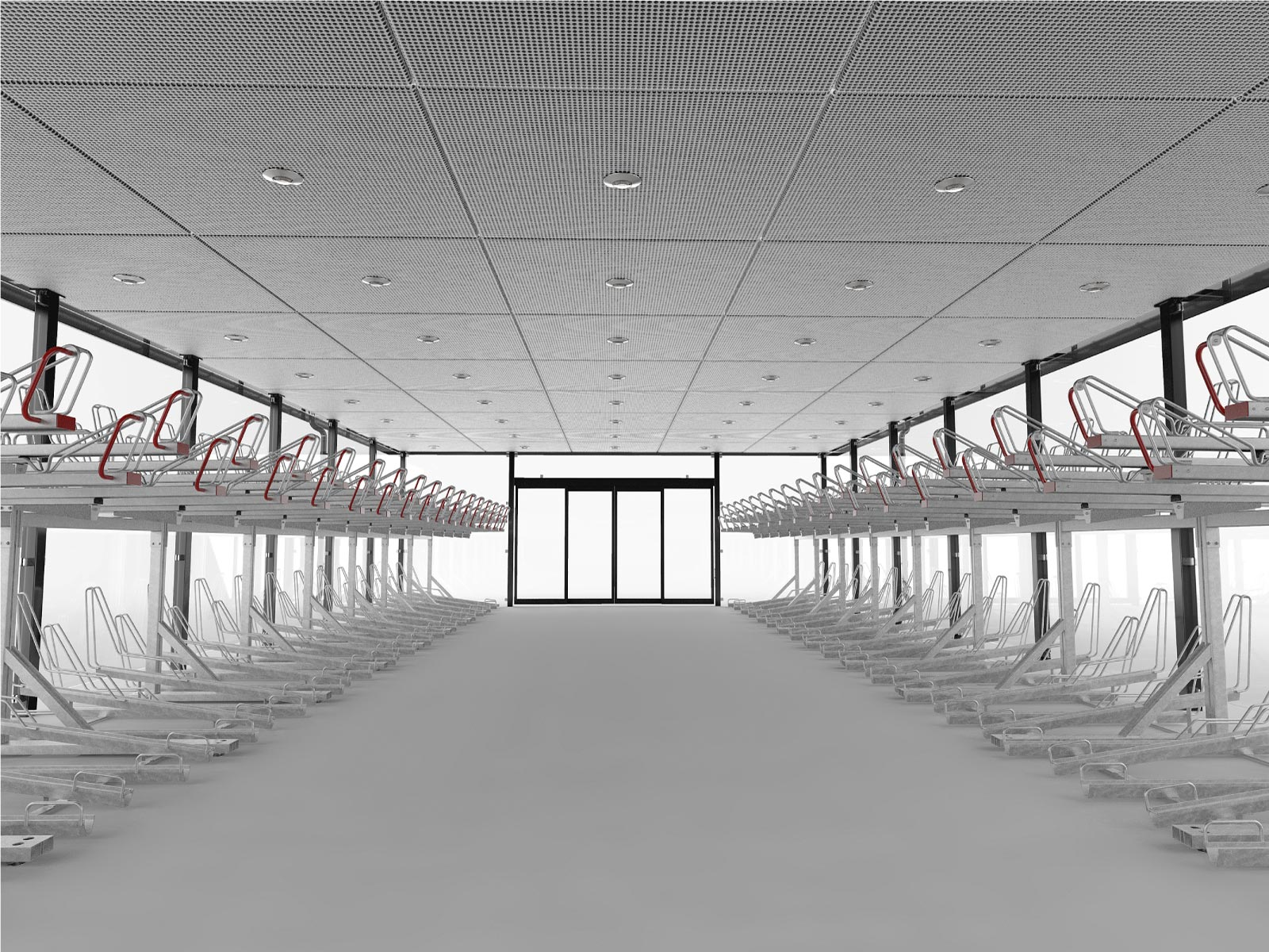 Inifrån-rendering av LINK cykelgarage för offentlig miljö med tvåvåningsställ OPTIMA