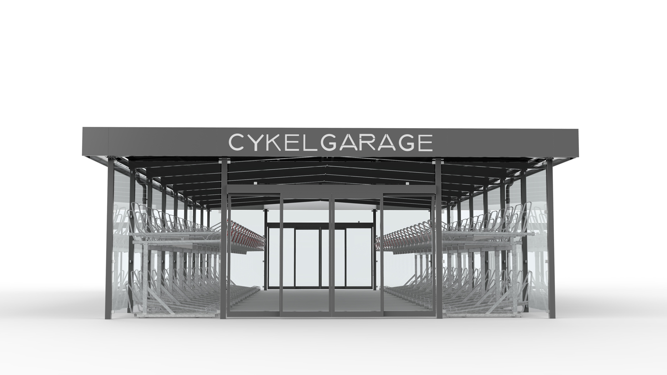 Rendering av LINK cykelgarage för offentlig miljö med tvåvåningsställ OPTIMA och texten cykelgarage på takprofilen
