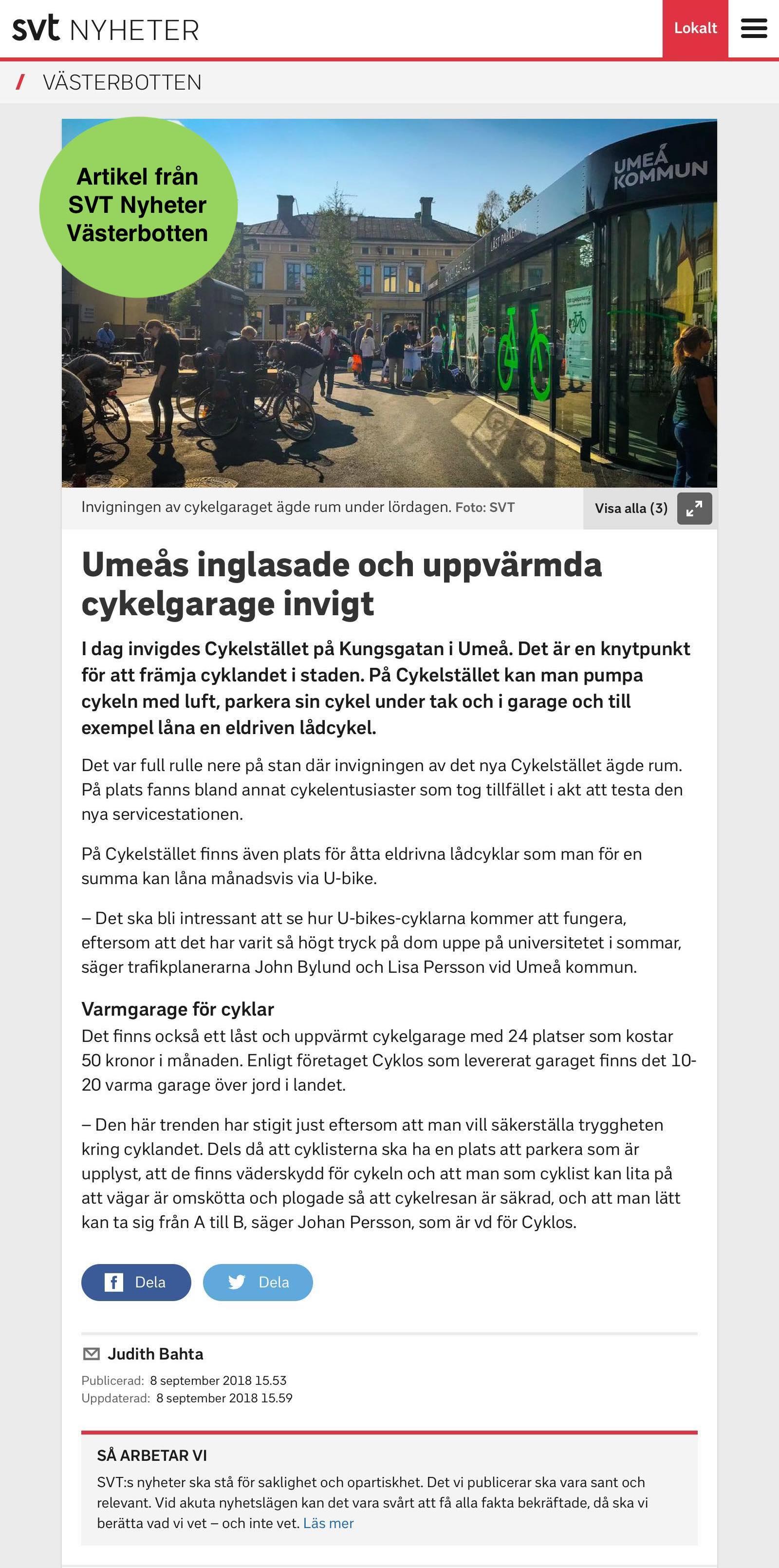 """Sveriges television rapporterar om invigningen av """"Cykelstället"""" i Umeå där Cyklos levererat ett uppvärmt cykelgarage, cykelställ och cykeltak"""