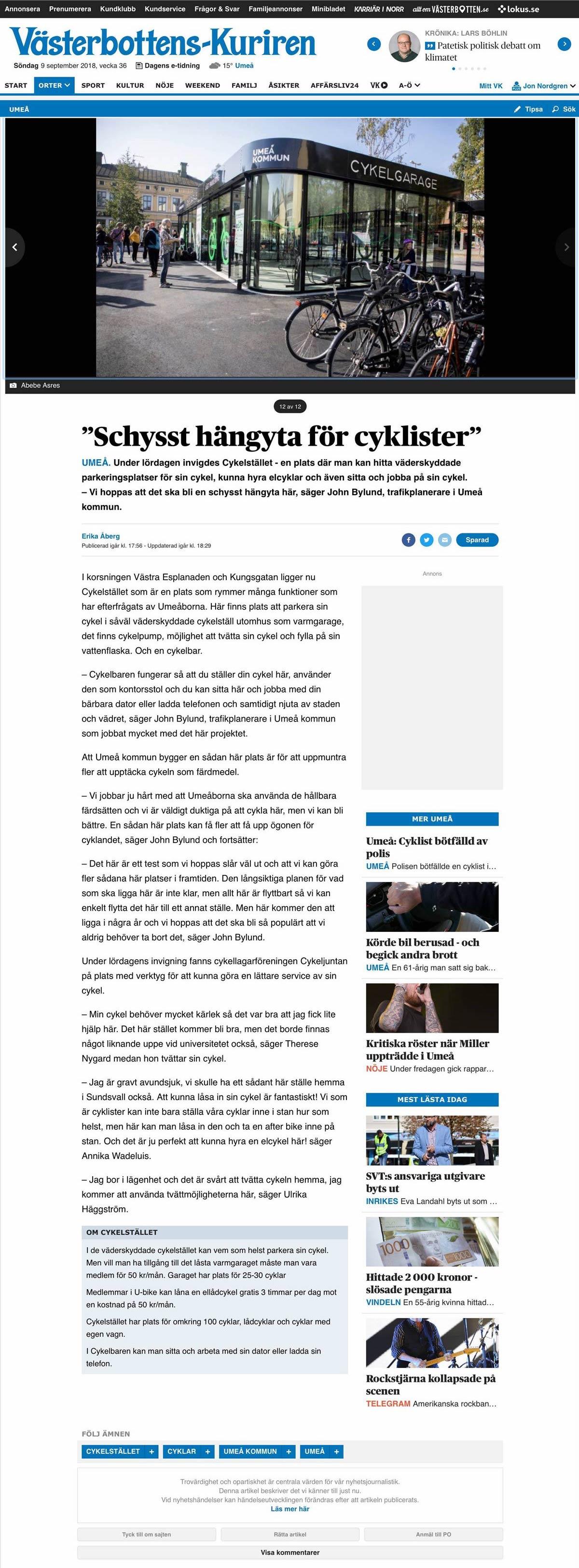 """Västerbottenkuriren rapporterar om invigningen av """"Cykelstället"""" i Umeå där Cyklos levererat ett uppvärmt cykelgarage, cykelställ och cykeltak"""