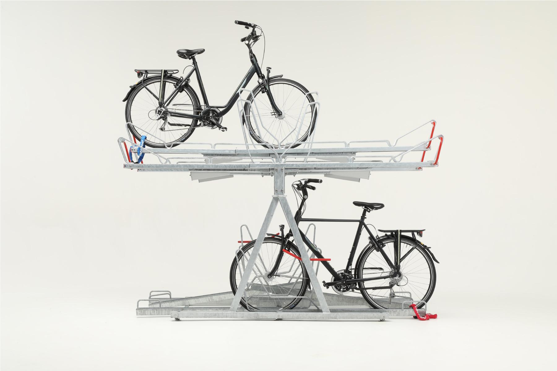 Rendering av Cyklos OPTIMA tvåvåningsställ i dubbelsidigt utförande med två cyklar på olika plan