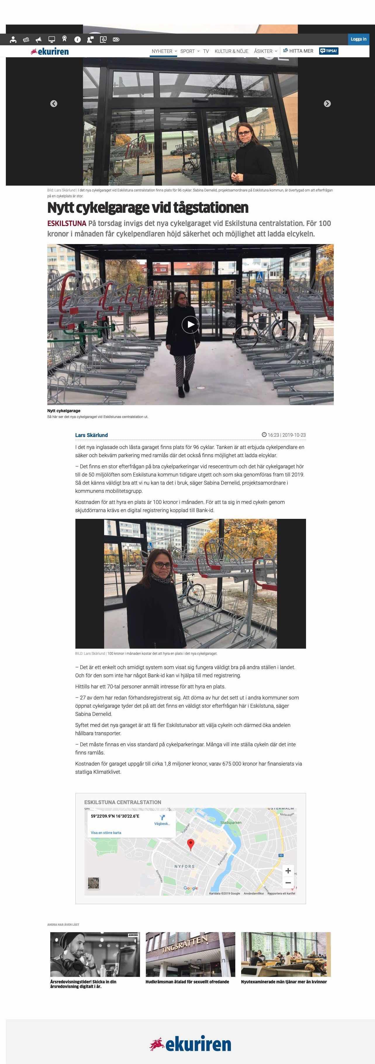 Artikel i Eskilstunakuriren om invigningen av LINK cykelgarage i Eskilstuna