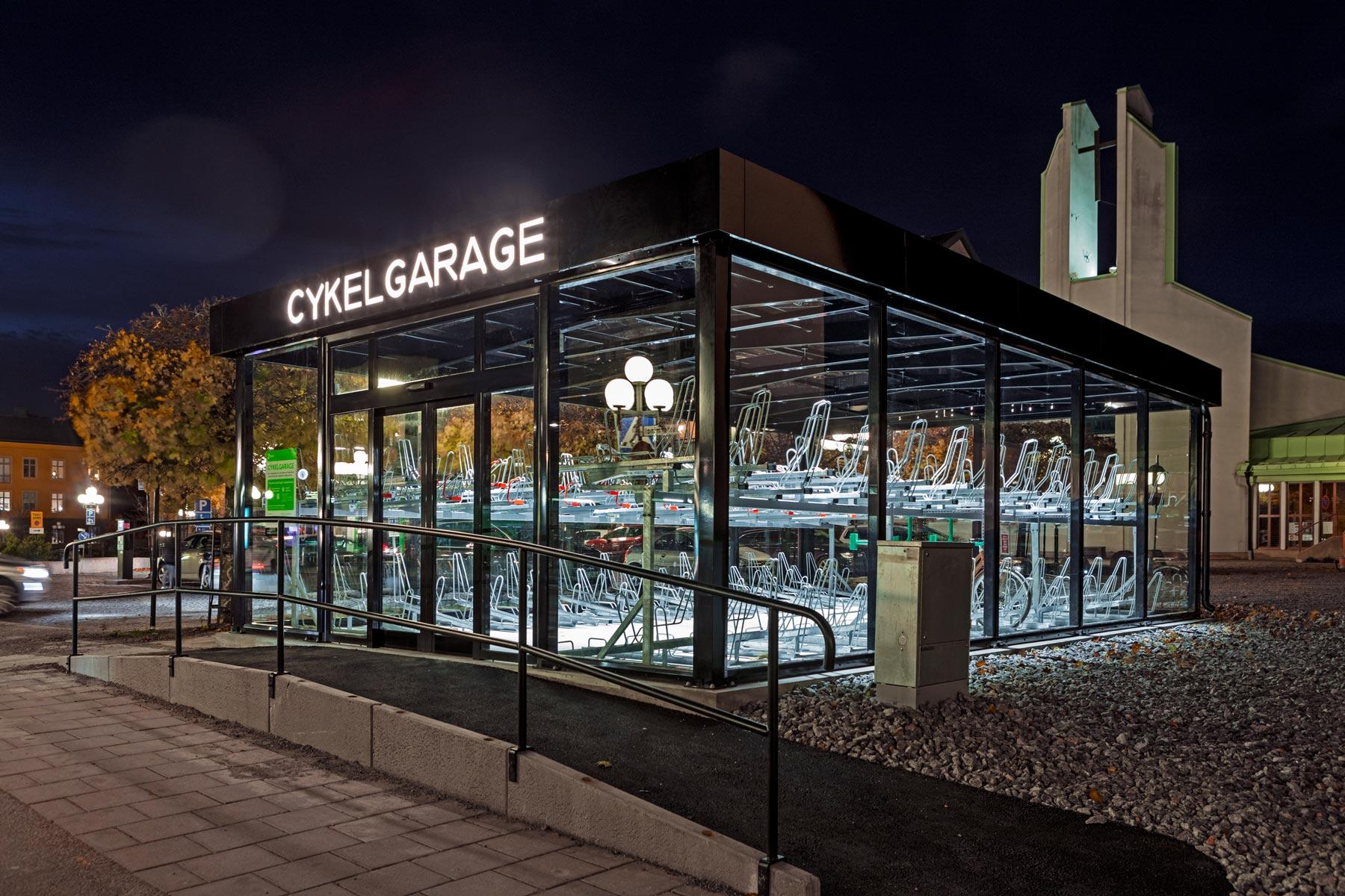 Cykelgarage med belysning